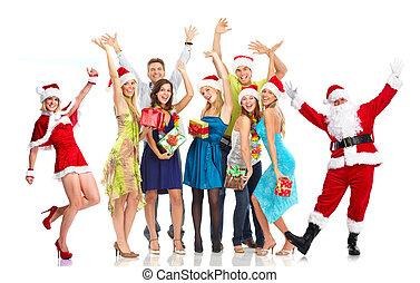 グループ, 人々。, claus, santa, パーティー。, クリスマス