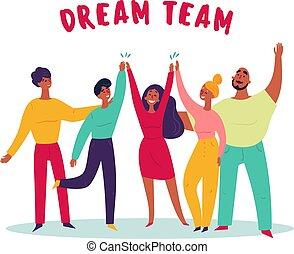 グループ, 人々, text., 若い, teamwork., チーム, 夢