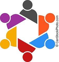グループ, 人々, vector., テーブル, ロゴ, ミーティング