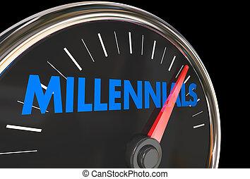 グループ, 人口統計学, 若い, イラスト, millennials, 速度計, 3d