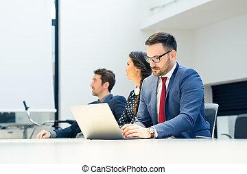 グループ, 仕事, ビジネス 人々, オフィス, コンピュータ, ミーティング