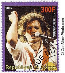 :, グループ, 切手, guitarist, -, richards, コンゴ, 音楽, 2007, 回転, 石, ∥...