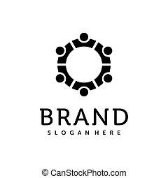 グループ, 創造的, ネットワーク, design., アイコン, ロゴ, vector., チーム