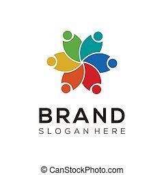 グループ, 創造的, design., アイコン, ロゴ, vector., チーム