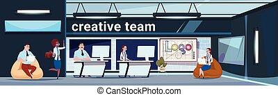 グループ, 労働者のオフィス, 人々, 現代, スペース, 創造的, ビジネス, coworking, ブレーンストーミング, チーム
