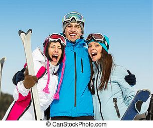 グループ, 包含, 肖像画, 半分長さ, 友人, スキーヤー