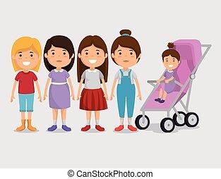 グループ, 友人, 特徴, 女の子