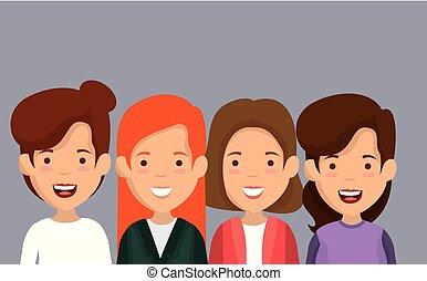 グループ, 友人, 特徴, 女性