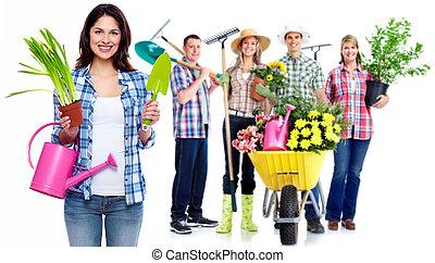 グループ, 園芸, plant., 人々