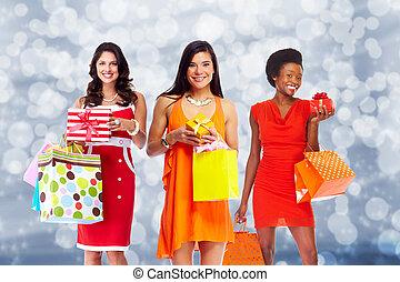 グループ, 女性買い物, bags.