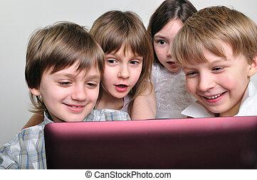グループ, 子供, コンピュータゲーム, 友人, 遊び