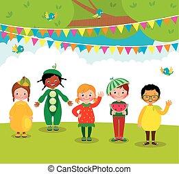 グループ, 子供, フルーツ, 楽しみ, パーティー, 持つこと