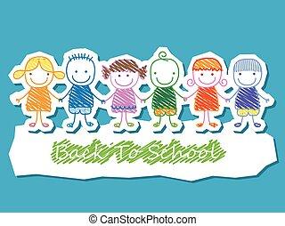 グループ, 学校の 子供, 背中