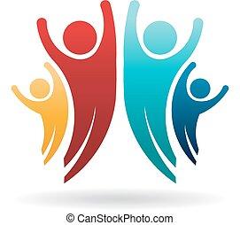 グループ, 家族, 人々, イラスト, ベクトル, logo., 幸せ