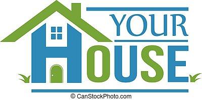 グループ, 家, logo., 家