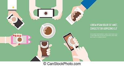 グループ, 平ら, コーヒー, 行動, 航空写真, 保有物のコップ, 食物, 写真, 写真, のように, 電話, ...
