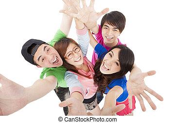 グループ, 幸せ, 楽しみ, 持つこと, 若い