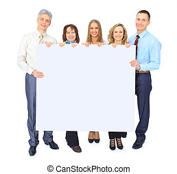グループ, 広告, ビジネス 人々, 隔離された, 保有物, 白, 旗
