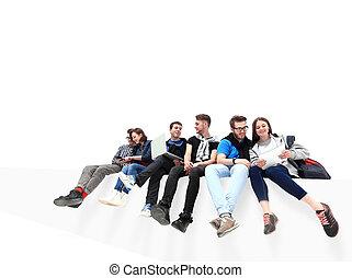 グループ, 床, 人々, 隔離された, モデル, 原因