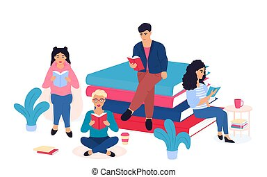 グループ, 座る, books., 文学, 試験, 山, 準備しなさい, ごく小さい, fans., 人々, 生徒, 巨大