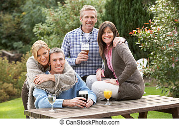 グループ, 庭, 飲みなさい, pub, 屋外で, 楽しむ, 友人