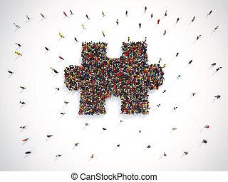 グループ, 形態, puzzle., 一緒に, peolpe, レンダリング, 小片, 3d