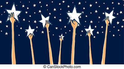 グループ, 成功, 手を伸ばす, 星, 手, ∥あるいは∥