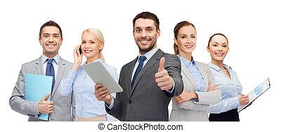 グループ, 提示, の上, 親指, 微笑, ビジネスマン