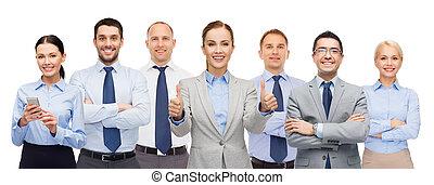 グループ, 提示, businesspeople, の上, 親指, 幸せ