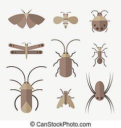 グループ, 昆虫, バックグラウンド。, ベクトル, insect., animal., 白, icon.