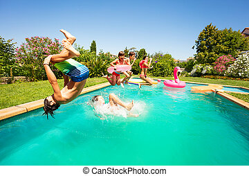 グループ, 楽しみ, 十代の若者たち, 幸せ, 持つこと, プール, 水泳