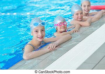 グループ, 水泳, 子供, プール