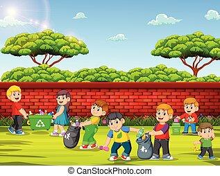 グループ, 清掃, 庭, 子供