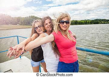 グループ, 湖, 屋外で, 楽しみ, 友人, 持つこと