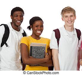 グループ, 生徒, 本, 大学, 背景, multi-racial, 白, バックパック
