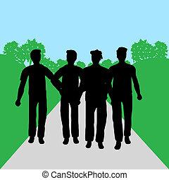 グループ, 男性, -, 人々