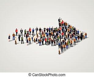 グループ, 矢, 成功, 人々, concept., 押し込められた, シンボル。, 大きい, 方法, ビジネス