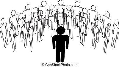 グループ, 立つ, 人々, スピーカー, 前部, リーダー