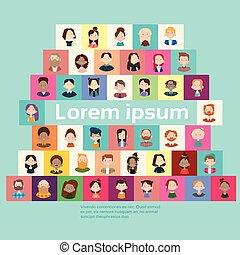 グループ, 群集, 人々, 大きい, 旗, 混合, レース, 民族, 多様, 偶然