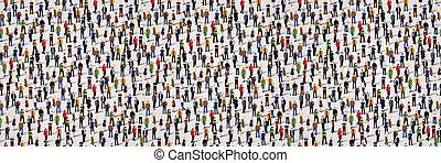 グループ, 群集, 人々。, seamless, 大きい, 背景