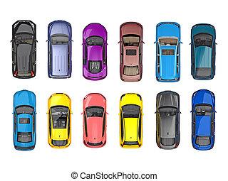グループ, 自動車, 上, 隔離された, 白, 光景