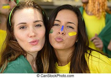 グループ, 記念, victory., ファン, ブラジル人, サッカー