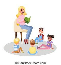 グループ, 読まれた, 教師, 本, 子供, 幼稚園