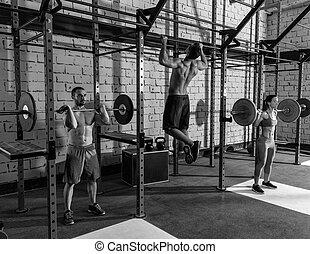 グループ, 重量, ジム, バーベル, 重量挙げ, 持ち上がること