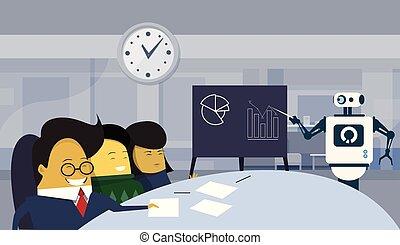 グループ, 金融, オフィス, モデル, プレゼンテーション, 現代, ロボット, businesspeople, ブレーンストーミング, アジア人, 机, レポート, の間, ミーティング, ∥あるいは∥