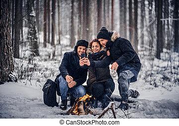 グループ, 雪が多い, 旅行者, 作りなさい, モデル, 朗らかである, キャンプファイヤー, 森林, midst, 友人, sefley