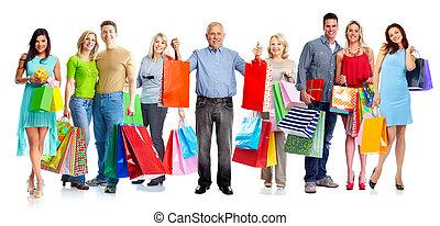 グループ, 顧客, 買い物, bags.