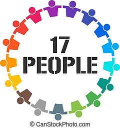 グループ, 17, 人々, イラスト, ベクトル, 一緒に, stand.