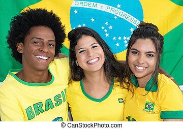 グループ, 3, ファン, 笑い, ブラジル人, サッカー
