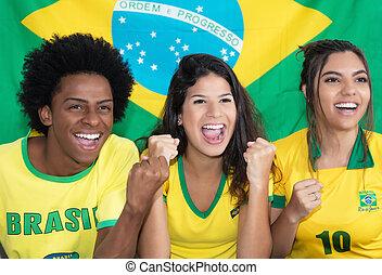 グループ, 3, 元気づけること, ファン, ブラジル人, サッカー